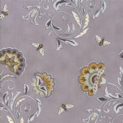Moda - Bee Joyful - 6487 - Stylised Floral with Bees on Grey - 19871 13 - Cotton Fabric